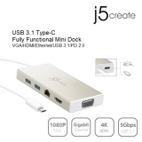 J5 JCD376 USB 3.1 Type-C Fully Functional Mini Dock