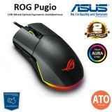Asus ROG Pugio Optical wired gaming mouse with a truly ambidextrous design featuring configurable side buttons, exclusive push-fit switch socket design, and Aura RGB lighting with Aura Sync support