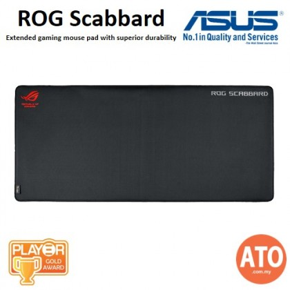 Asus ROG Scabbard Extended Gaming Mouse Pad with Superior Durability and Splash Resistance, Glow-in-the-dark Lettering, Anti-Fray Stitching and Non-Slip Base (900x400x2mm)