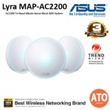 ASUS (MAP-AC2200) Lyra AC2200Tri-Band Whole-Home Mesh WiFi System (for large homes), with AiProtection network security powered by Trend Micro, ASUS Lyra App and Advanced Parental Control