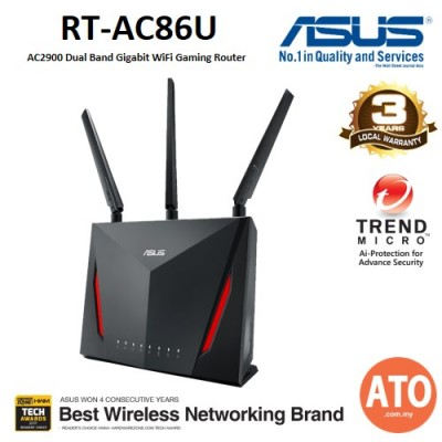 ASUS (RT-AC86U) AC2900 Dual Band Gigabit WiFi Gaming Router with MU-MIMO, AiMesh for mesh wifi system, AiProtection network security by Trend Micro, WTFast game accelerator and Adaptive QoS