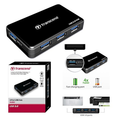 Transcend USB 3.0 4-Port Hub with power Adapter