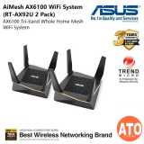 Asus (RT-AX92U) AX6100 Tri-Band whole home mesh wifi system for large and multi-story homes, supports flexible SSID setting, wired inter-router connections, AiProtection Pro network security powered by Trend Micro