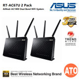 Asus (RT-AC67U 2 Pack) AiMesh AC1900 Dual Band Whole Home Mesh WiFi System for Large and Multi-Story Homes, Support Flexible SSID Setting, Wired Inter-router Connections, AiProtection Pro Network Security Powered by Trend Micro and Adaptive Qos