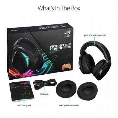 Asus ROG Strix Fusion 500 Gaming Headset with Headset-to-Headset RGB Light Synchronization, Hi-fi-Grade ESS DAC Amplifier, 7.1 Virtual Surround