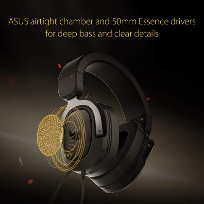 Asus TUF GAMING H3 gaming headset for PC, PS4, Xbox One and Nintendo Switch, featuring 7.1 surround sound, deep bass, lightweight design, fast-cooling ear cushions