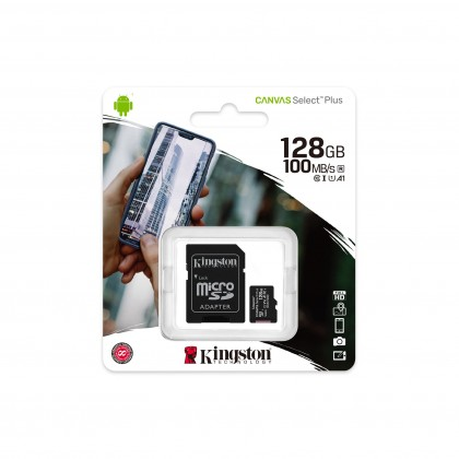 Kingston Micro SD Canvas Select Class 10 UHS-I U1 microSDHC/SDXC - 128GB