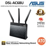 Asus (DSL-AC68U) AC1900 Dual Band ADSL/VDSL Gigabit WiFi Modem Router – space saving 2-in-1 device, supporting AiProtection network security powered by Trend Micro and Parental Controls
