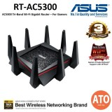ASUS AC5300 Tri-Band Gigabit WiFi Gaming Router with MU-MIMO, supporting AiProtection network security powered by Trend Micro, AiMesh for mesh wifi system, built-in WTFast game accelerator and Adaptive QoS