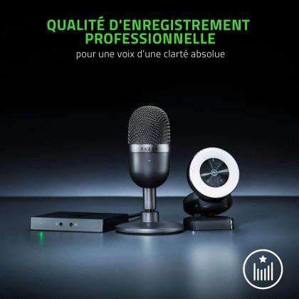 Razer Seiren Mini - Portable Mini Mic - Black | Quartz Pink | Mercury White (Condenser Microphone, Supercardioid Pick-Up Pattern, Build-in Shock Mount)