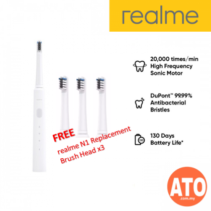 Realme N1 Sonic Electric Toothbrush FREE Replaceable Toothbrush Head (3 pcs/set) (20,000 times/mins High Frequency Sonic Motor DuPont 99.99% Antibacterial Bristles with 130 Days Battery Life)