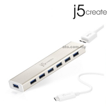 J5 JCH377 USB Type-C 7-Port USB 3.0 Hub with AC Adapter