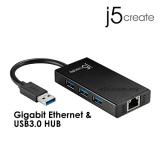 J5 JUH470 USB 3.0 Gigabit Ethernet & 3-Port HUB