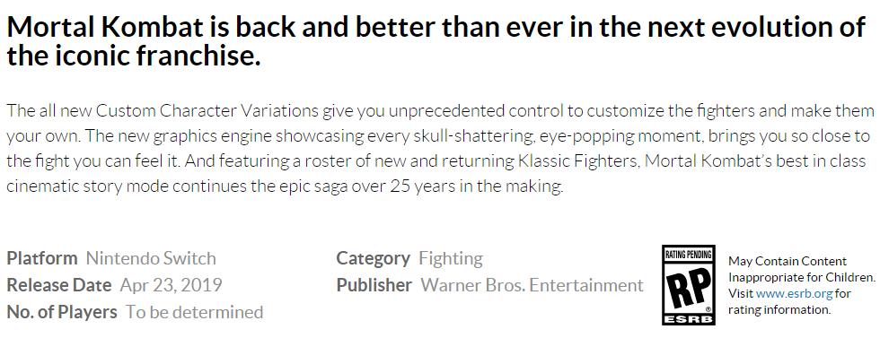 Mortal Kombat 11 for Nintendo Switch